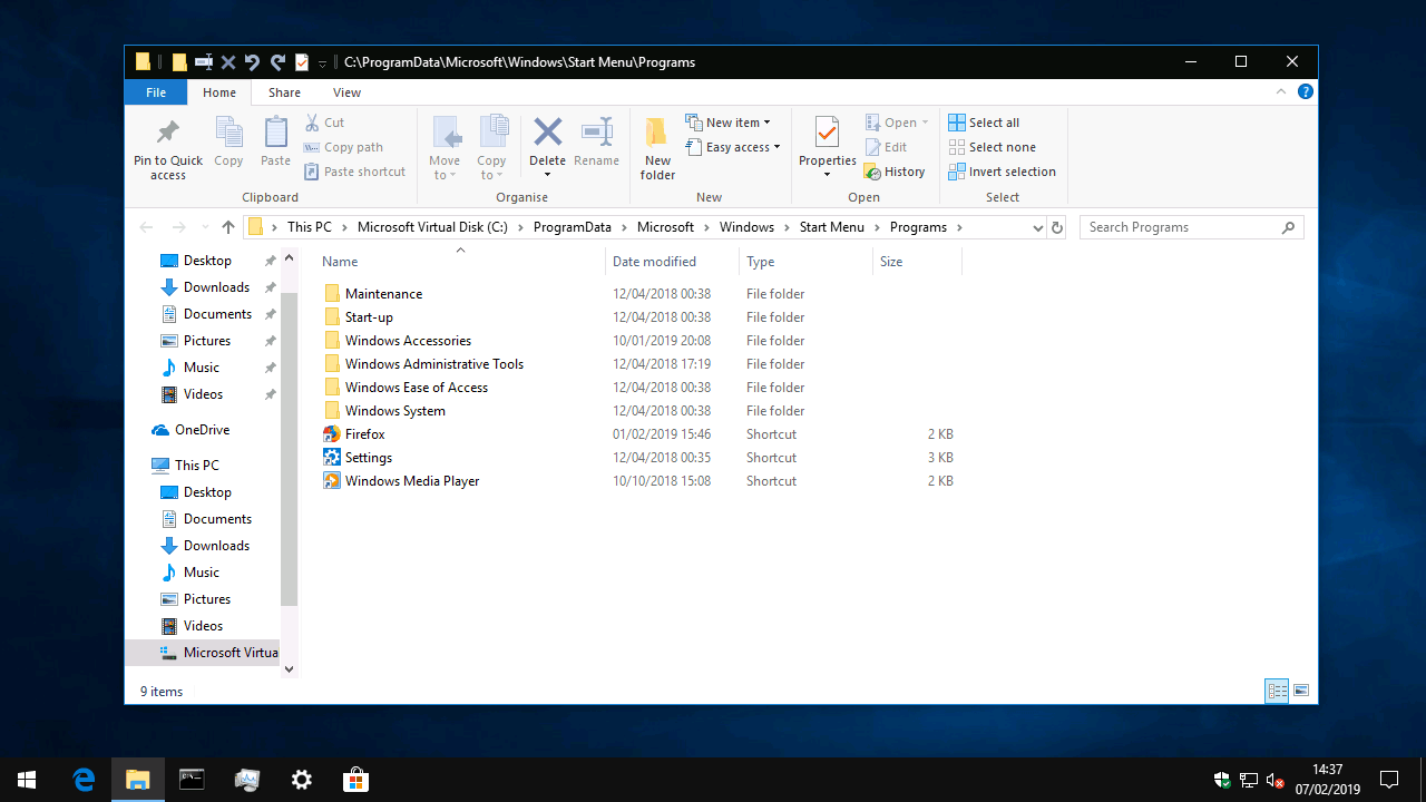 Windows 10 Start menu folder location