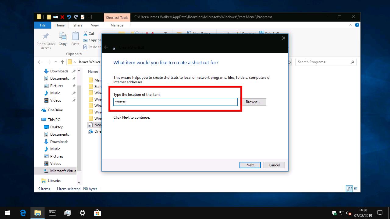 Creating a custom shortcut in the Windows 10 Start menu