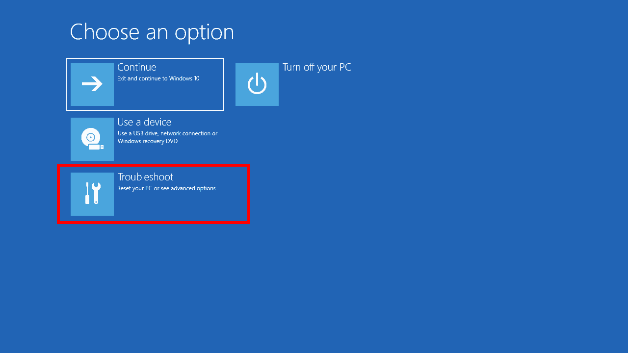 Windows 10 system image recovery screenshot