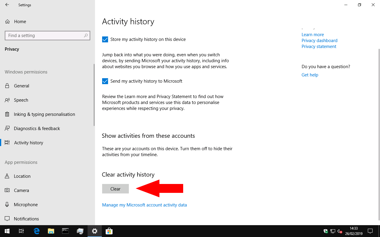 Clearing Windows 10 Timeline