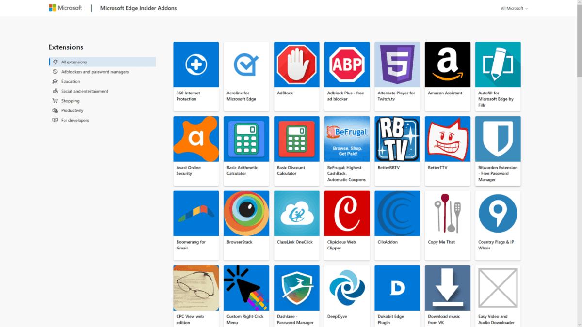 Microsoft Edge Insider addons webpage is back online, now