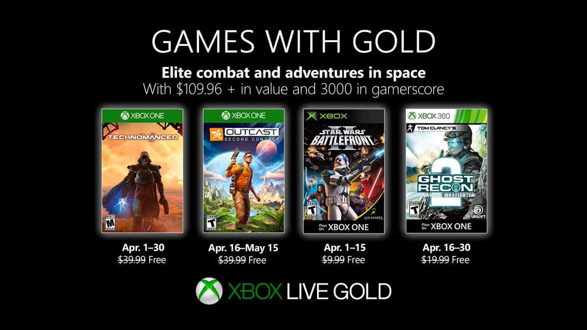 Games with Gold for April to include Outcast: Second Contact
