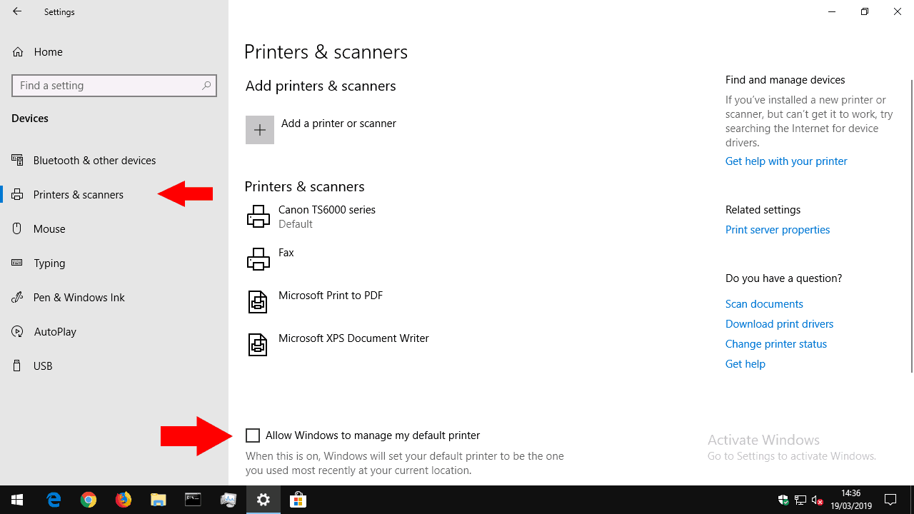 Setting default printer in Windows 10