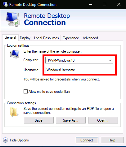 Remote Desktop settings in Windows 10 - making a connection