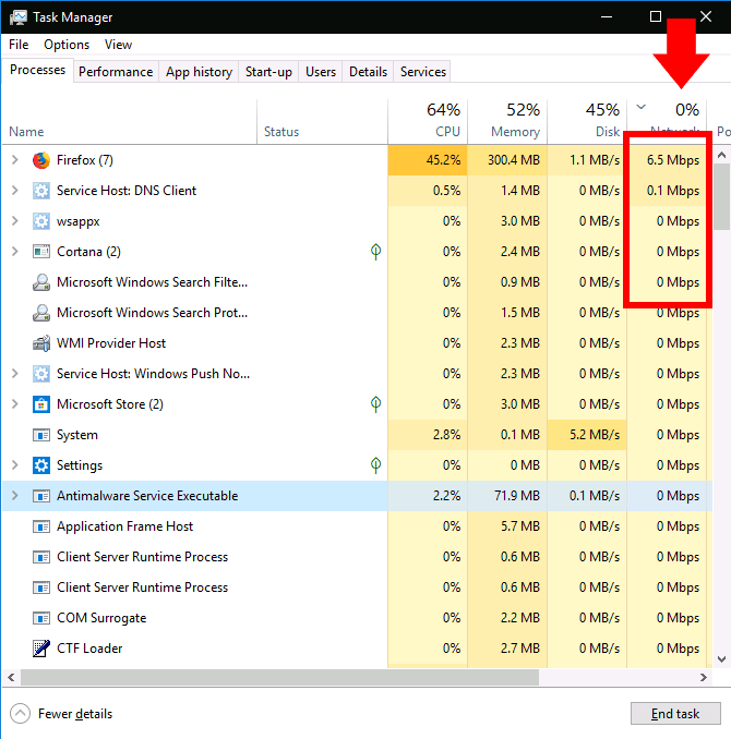 Monitoring network activity in Task Manager