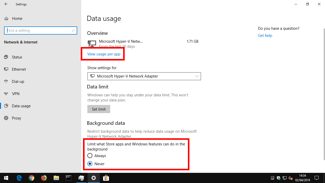 Windows 10 Data usage settings