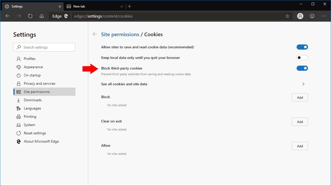 Microsoft Edge cookie esttings