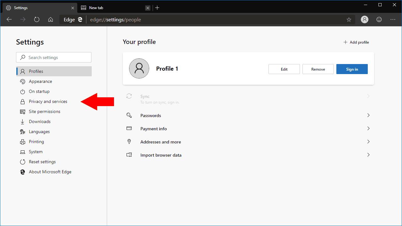 Settings in Microsoft Edge Dev
