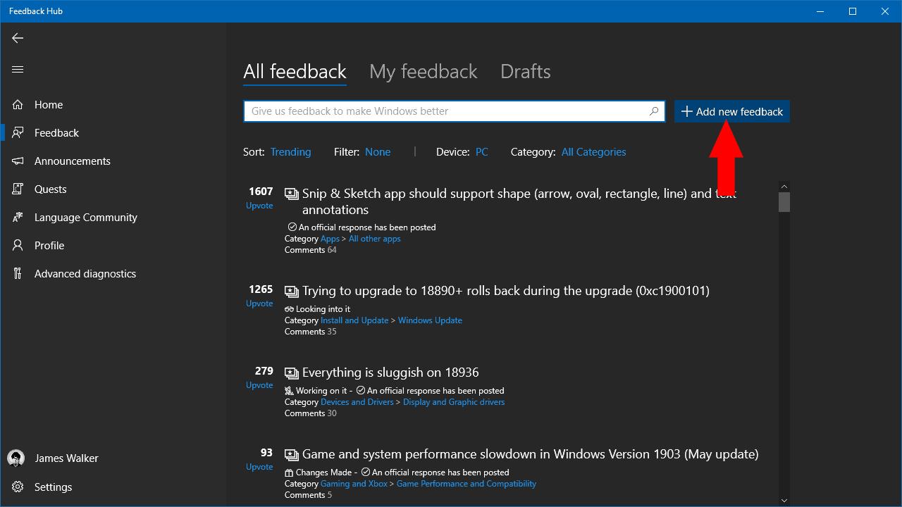 Screenshot of Feedback Hub in Windows 10