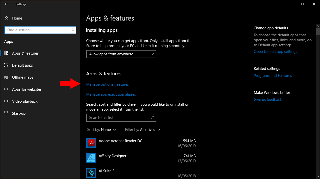 Managing optional features in Windows 10