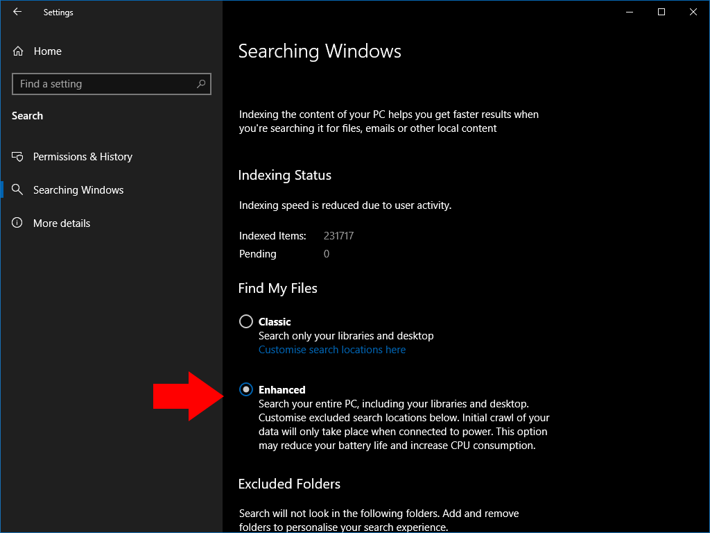 Enhanced Search settings in Windows 10