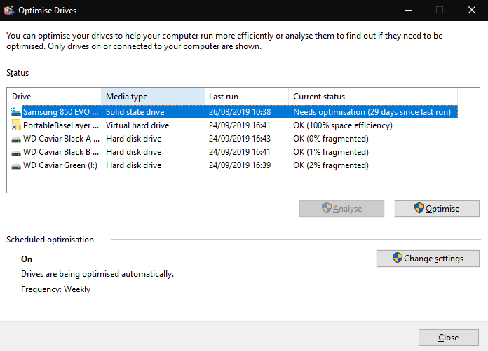 Defragment and Optimise Drives in Windows 10
