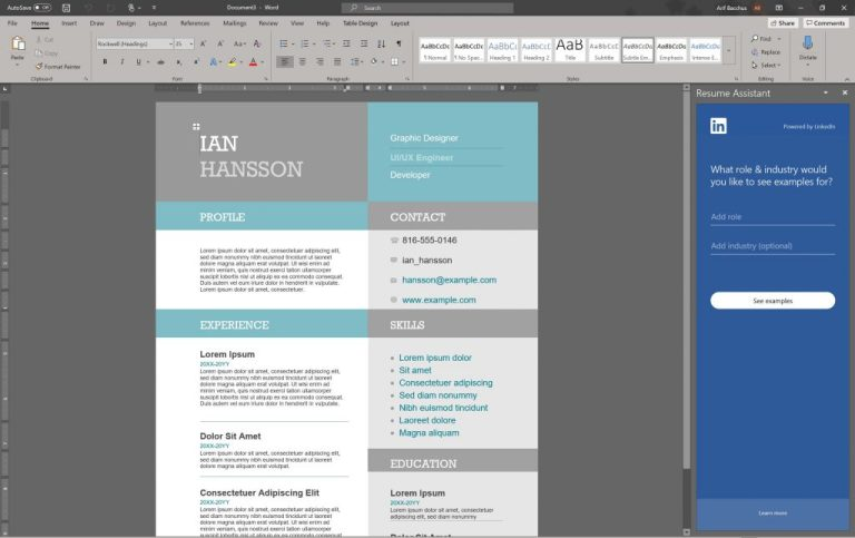 How to make a professional looking resume in Word in Office 365