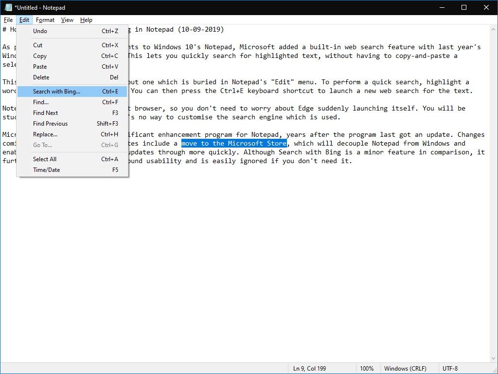 Search with Bing in Notepad