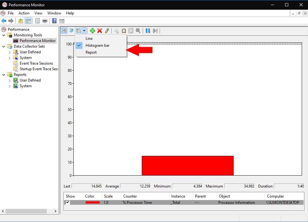 Performance Monitor in Windows 10
