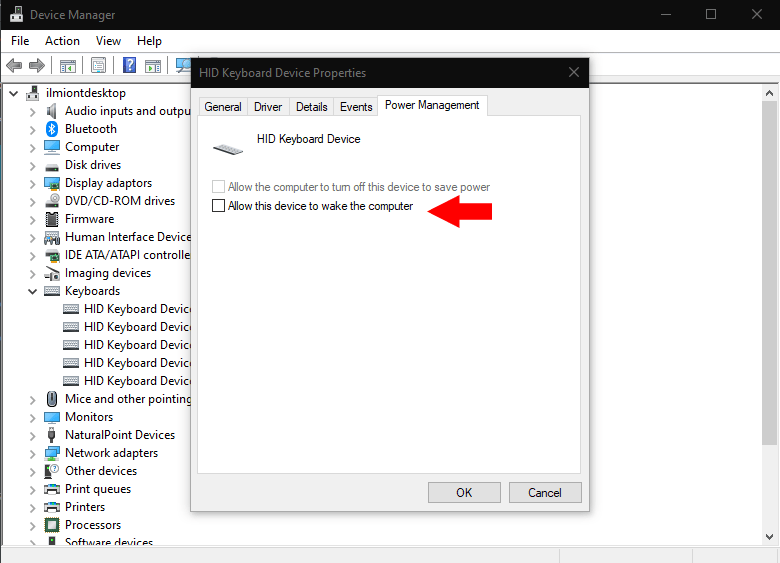 Power management settings in Device Manager