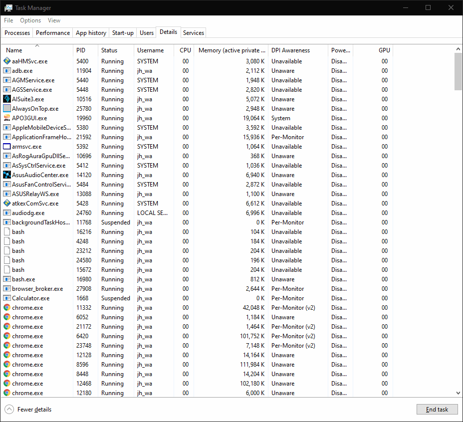 Screenshot of Task Manager in Windows 10