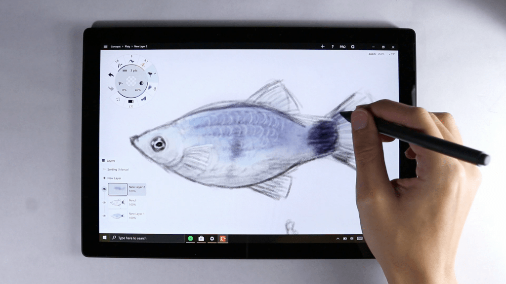 Surface pro 7 drawing surface pen