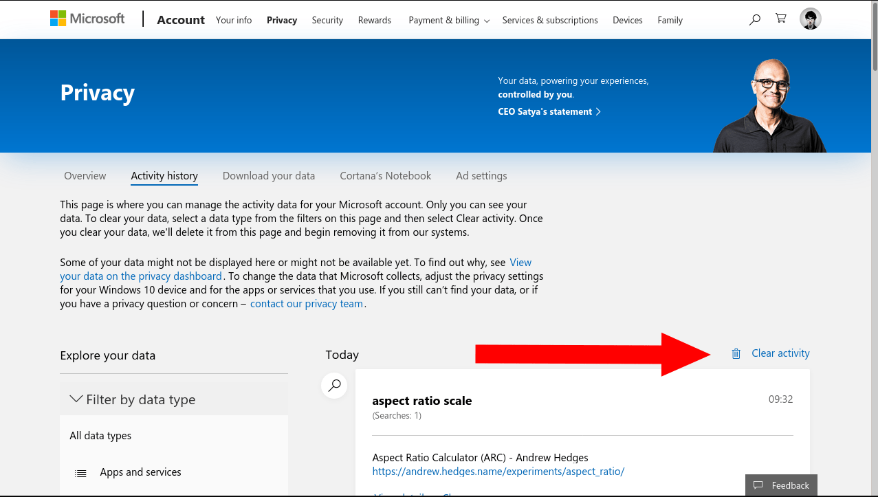 Clearing search history from Microsoft account