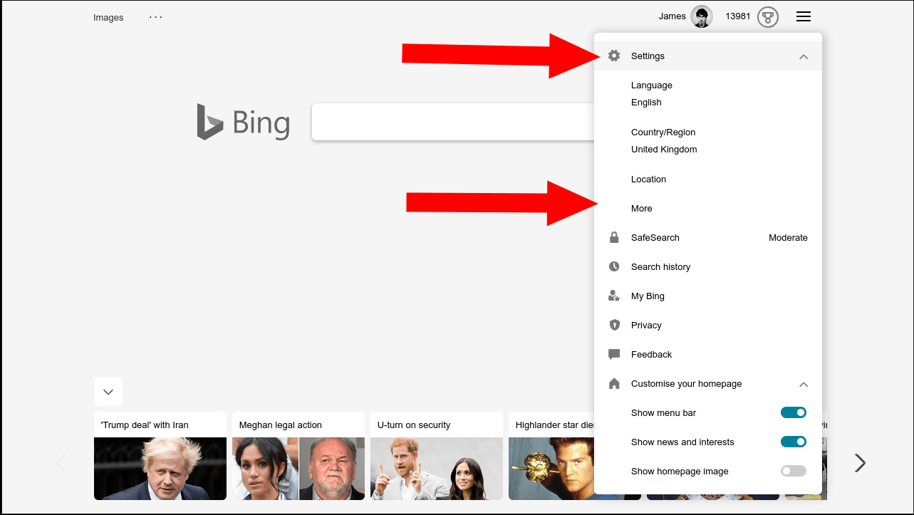 Accessing Bing settings from the Bing homepage