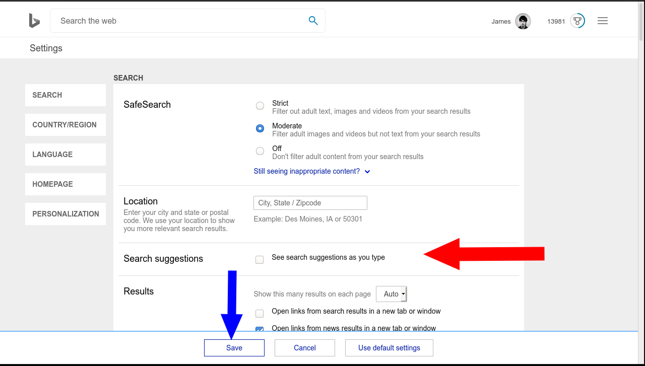 Disabling Bing search suggestions