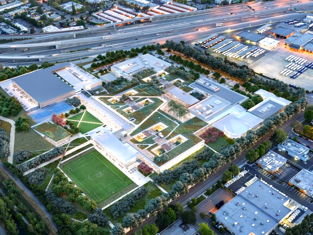 Aerial rendering of the new Mountain View campus © WRNS Studio