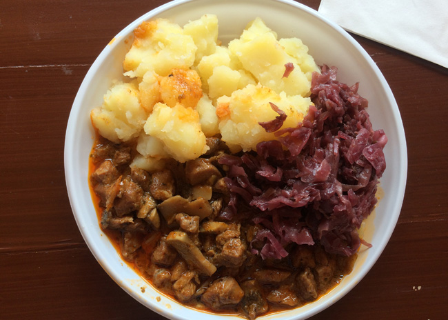 Budapest - A hearty lunch of beef, potatoes and red cabbage