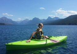girl riding kayak
