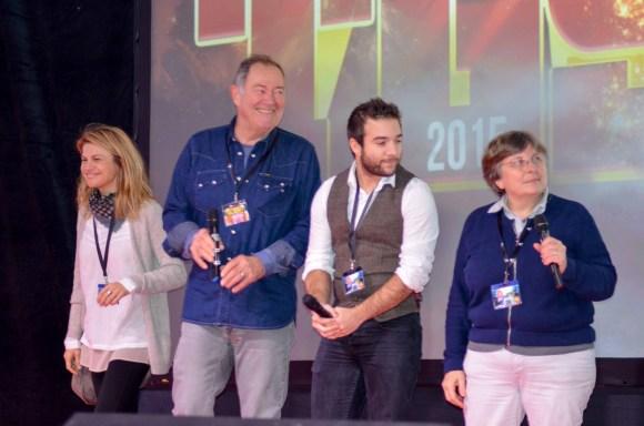 L'équipe des doubleurs, avec, de gauche à droite, Delphine Allemane, Benoît Allemane, Kelyan Blanc et Brigitte Lecordier.