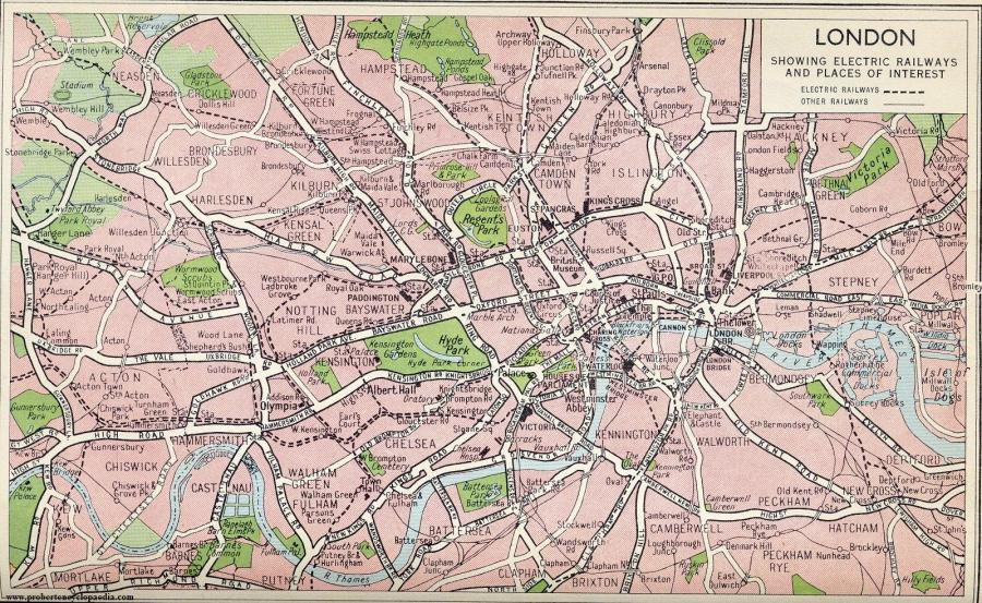 Map of London 1940   On Road Map of London 1940