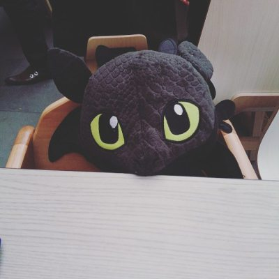 What is sitting opposite me at lunch. Sqk insisted that his new 'Baby Toothless' needed a chair.