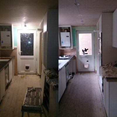 Monday to today #newkitchen. I have ovens, hob and sink....plus most cupboard doors. Moving back tmrw eve....we hope!!