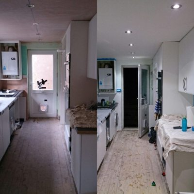 From Thursday to today. We have first coat of (new plaster) paint #newkitchen