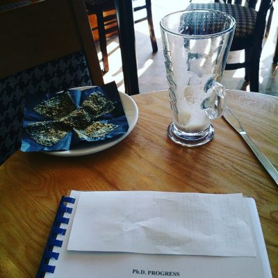 What was on my plate - latte & muffin Sat in Costa reading report for next week's viva #taspic