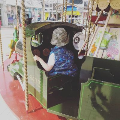 A ride on a merry go round in a train of course...