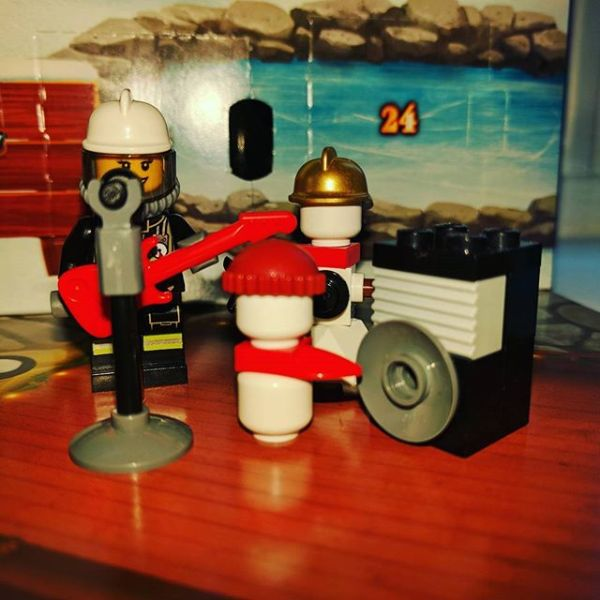 #legocityadvent Day 3: yesterday. Rocking fireman got microphone & speaker.