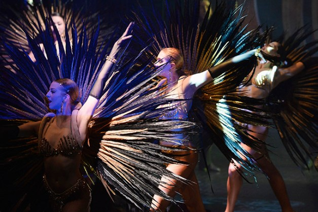 PARIS, FRANCE - APRIL 08: Dancers perform on stage during the 'Paris Merveilles', Lido New Revue show at Le Lido on April 8, 2015 in Paris, France. (Photo by Pascal Le Segretain/Getty Images For Le Lido)