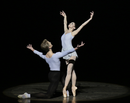 Megan Fairchild and Chase Finlay in Duo Concertant New York City Ballet Choreography George Balanchine ©The George Balanchine Trust Credit Photo: Paul Kolnik studio@paulkolnik.com nyc 212-362-7778