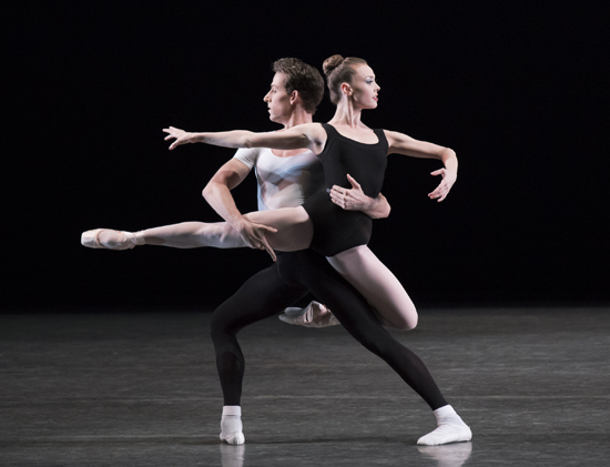 Emilie Gerrity and Cameron Dieck in The Four Temperaments Choreography George Balanchine © The George Balanchine Trust New York City Ballet Credit Photo: Paul Kolnik studio@paulkolnik.com nyc 212-362-7778