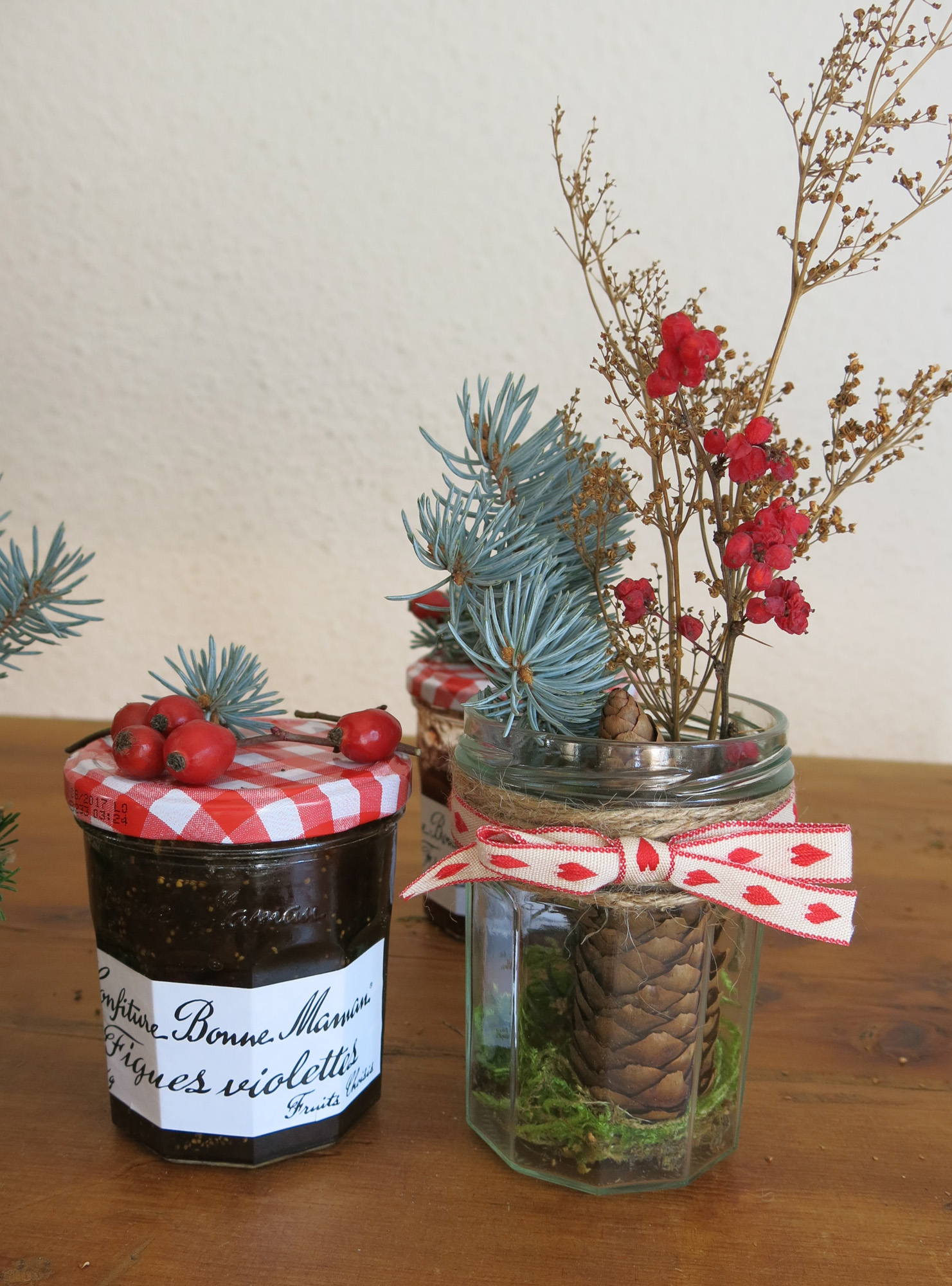 Diy de no l d co de table en pots bonne maman on sunday mornings - Pots de confiture vides bonne maman ...