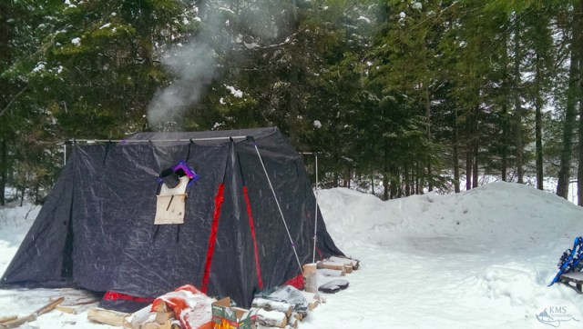 winter hot tent at mew lake campground in algonquin provincial park