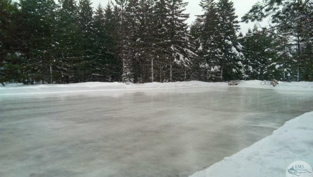 winter skating rink at algonquin's mew lake campground