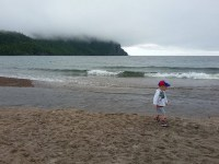 Stormy day at Old Women Bay beach, lake superior provincial park