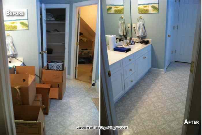 Before and after photos of a bathroom unpacked and organized by On Task Organizing, LLC in Raleigh, NC.