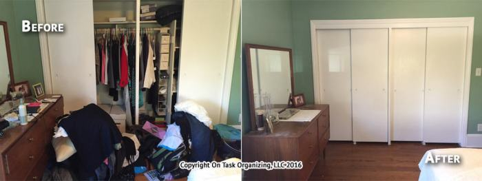 before and after organizing photos of a bedroom
