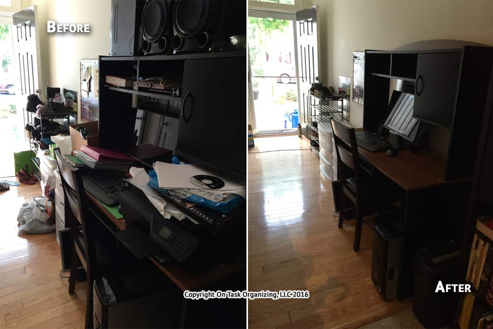 Before And After Photos Of A Raleigh Home Office Area Decluttered Organized By On Task Organizing LLC NC