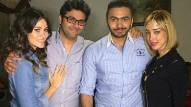 صور تامر حسني مع زوجته بسمة في عيد ميلاد ابنتهما تالية