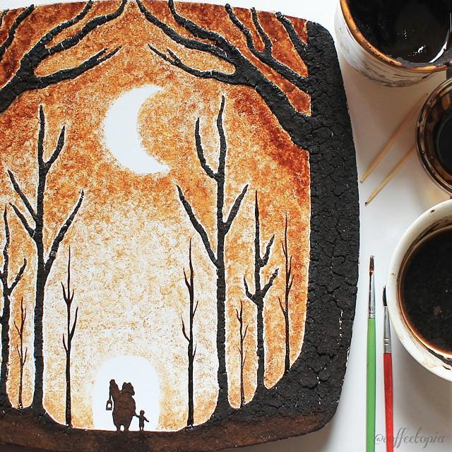 رسم بالقهوة