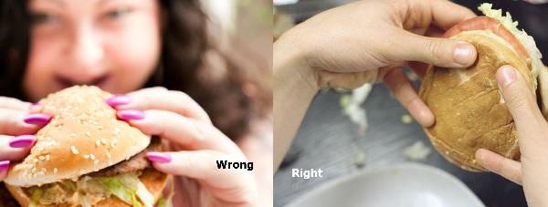 الطريقة الصحيحة للإمساك بالساندويتش