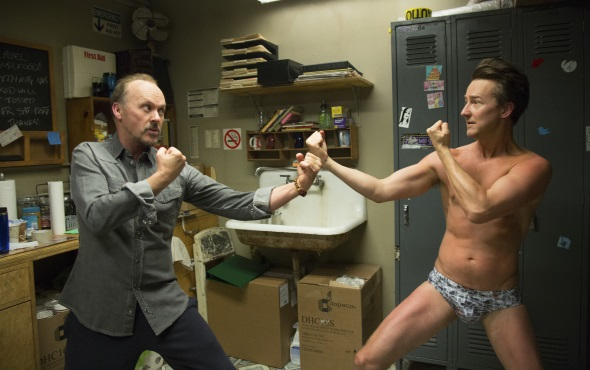 Edward Norton and Michael Keaton in BiRDMAN or (The Unexpected Virtue of Ignorance)